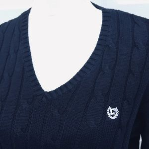 Chaps V-Neck Cable Knit Sweater.